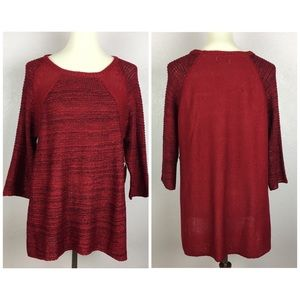 NWT One World Red Quarter Length Sleeve Sweater